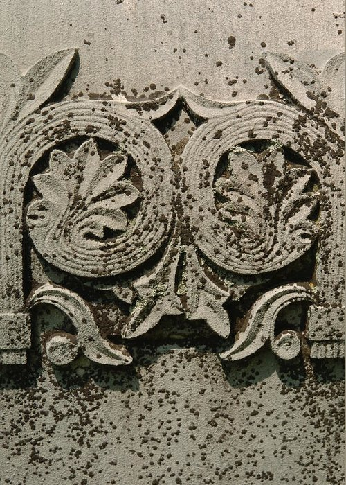 Limestone Greeting Card featuring the photograph Limestone Grave Carving by Jon Benson