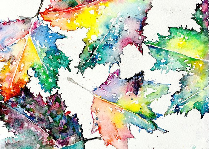 Watercolor Greeting Card featuring the painting Maple Leaves by Julia S Powell