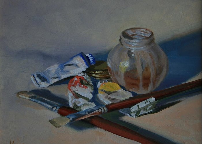 Still Life Greeting Card featuring the painting Limited Palette by Michael Vires