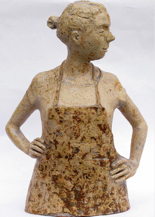 Sculpture Greeting Card featuring the sculpture Lina the Ceramist by Raimonda Jatkeviciute-Kasparaviciene