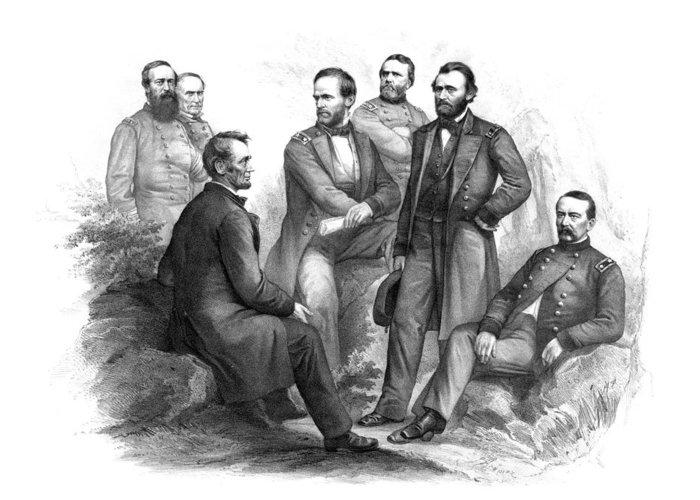 Civil War Greeting Card featuring the drawing Lincoln And His Generals Black And White by War Is Hell Store