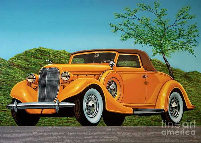Lincoln K Convertible Greeting Card featuring the painting Lincoln K Convertible 1935 Painting by Paul Meijering