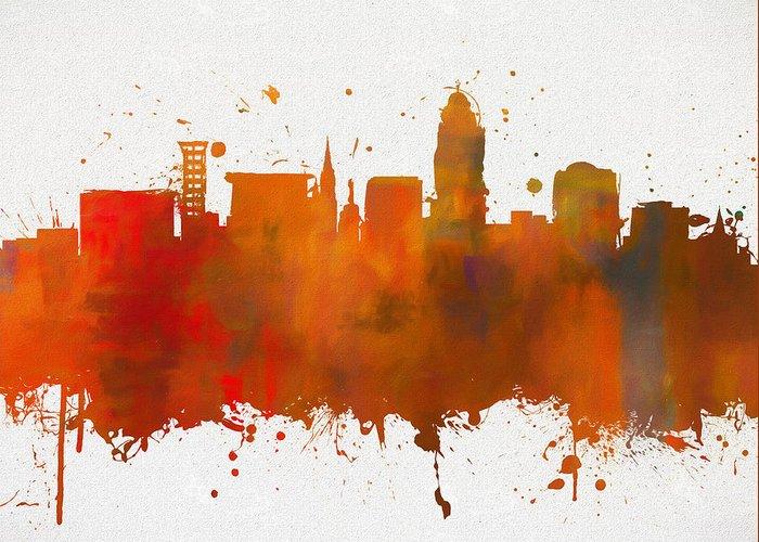 Lincoln Nebraska Colorful Skyline Greeting Card featuring the painting Lincoln Nebraska Colorful Skyline by Dan Sproul