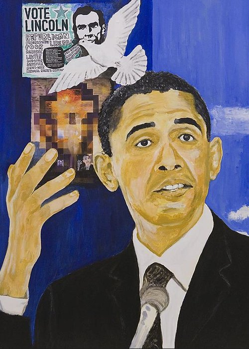 Portrait Greeting Card featuring the painting Lincoln Obama by Boz Vakhshori