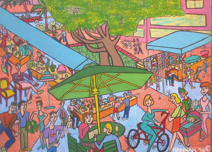 Scene Greeting Card featuring the painting Lincoln Road Flea Market by Hannah Lasky