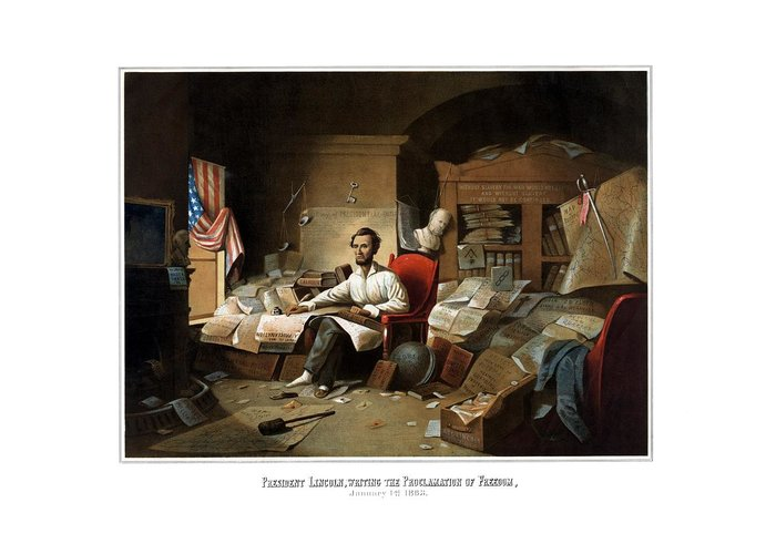 Abraham Lincoln Greeting Card featuring the painting Lincoln Writing The Emancipation Proclamation by War Is Hell Store