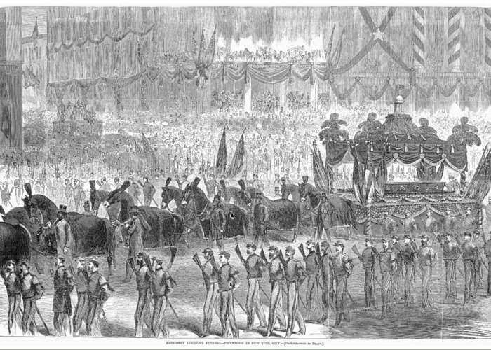 1865 Greeting Card featuring the photograph Lincolns Funeral, 1865 by Granger