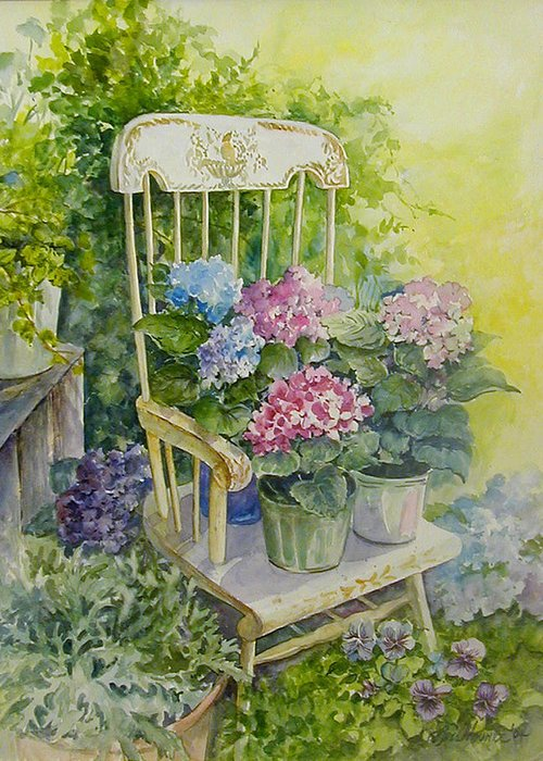 Floral;flowers;rocking Chair;hydrangeas;pansies; Greeting Card featuring the painting Linda by Lois Mountz