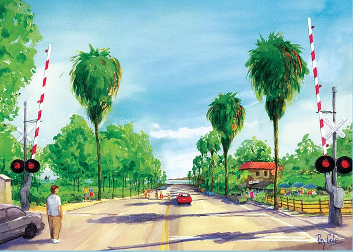 Linden Avenue Greeting Card featuring the painting Linden To The Beach by Ray Cole