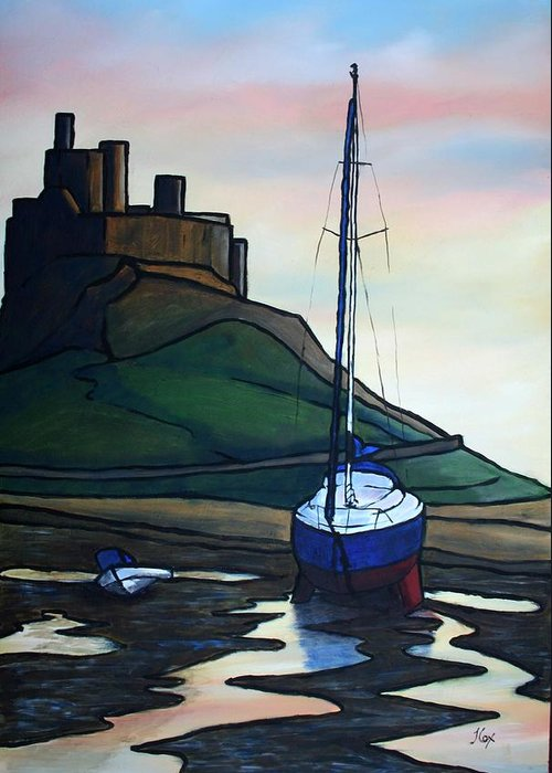 Seascape Greeting Card featuring the painting Lindisfarne At Low Tide. by John Cox