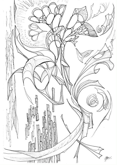 line 3 Botanic Botanical Blackandwhite Black And White Zentangle Zen Tangle Abstract Acceptance Circles Comfort Comforting Detailed Drawing Dreams Earth Greeting Card featuring the painting Flowing Floating Flora by Charles Cater