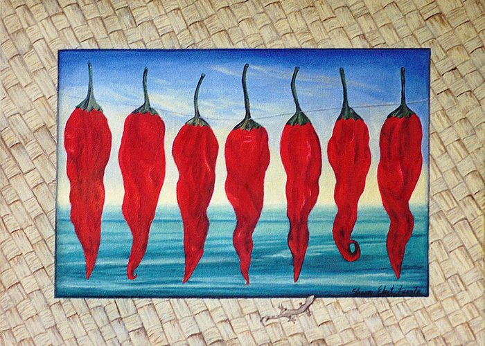 Surreal Painting Greeting Card featuring the painting Line Of Fire by Sharon Ebert