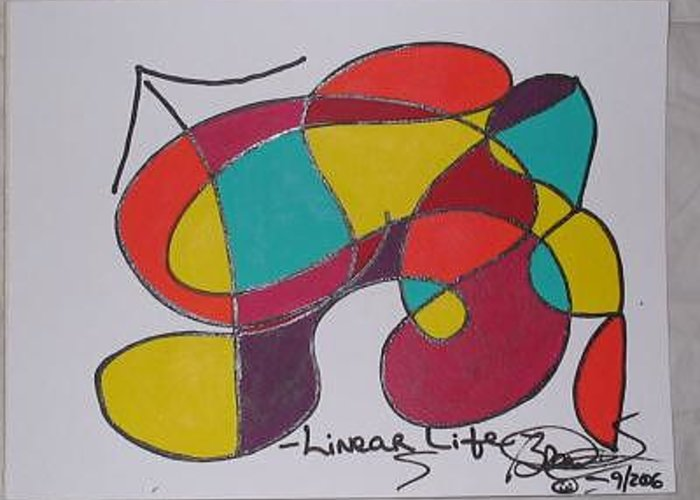 Abstract Greeting Card featuring the painting Linear Life by Brenda Basham Dothage