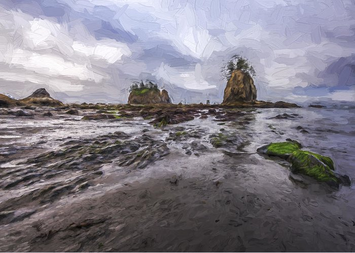 Art Greeting Card featuring the digital art Lines At The Shore II by Jon Glaser
