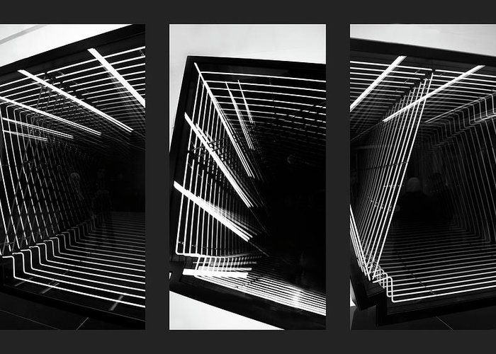 Monochrome Greeting Card featuring the photograph Lines Of Light Triptych by Jessica Jenney