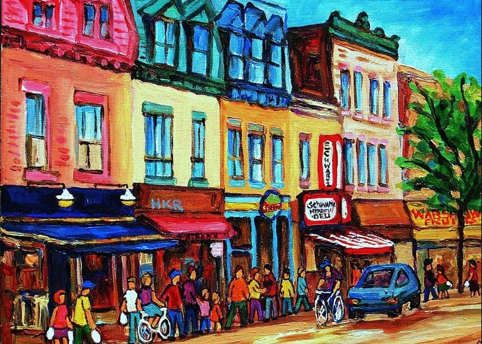Cityscape Greeting Card featuring the painting Lineup For Smoked Meat Sandwiches by Carole Spandau