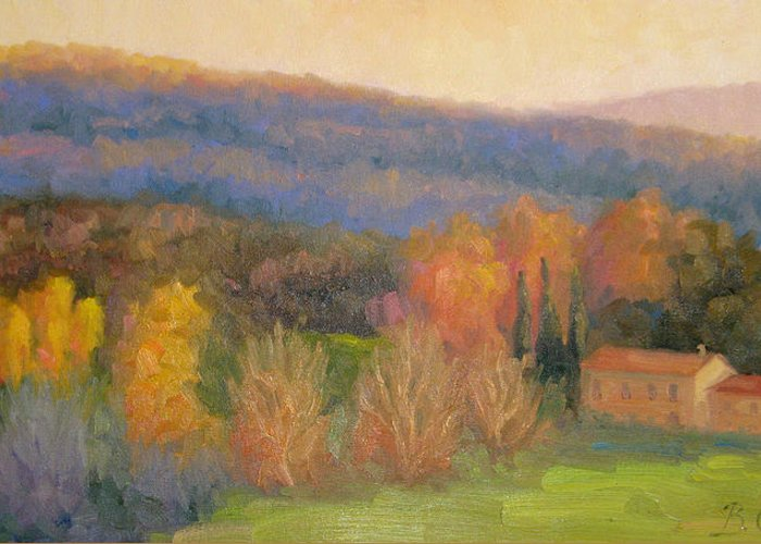 Tuscany Greeting Card featuring the painting Lingering Light - Tuscany by Bunny Oliver