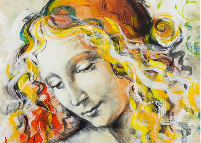 Madona Greeting Card featuring the painting L'innamorata by Jean Pierre Rousselet
