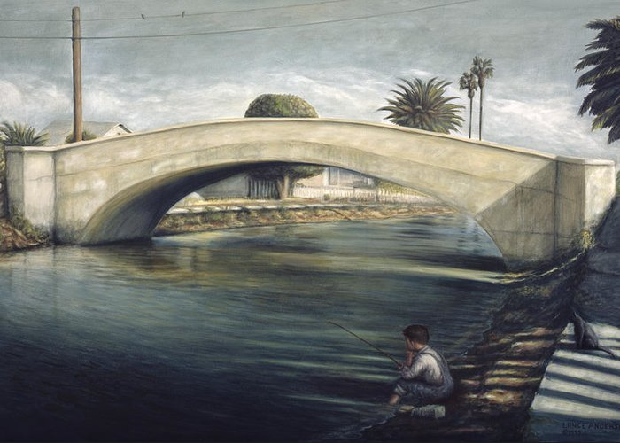 Venice Greeting Card featuring the painting Linnie Canel Venice by Lance Anderson