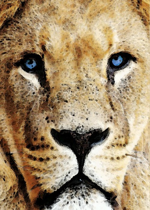Lions Greeting Card featuring the painting Lion Art - Blue Eyed King by Sharon Cummings