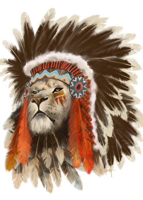 Lion Greeting Card featuring the painting Lion Chief by Sassan Filsoof
