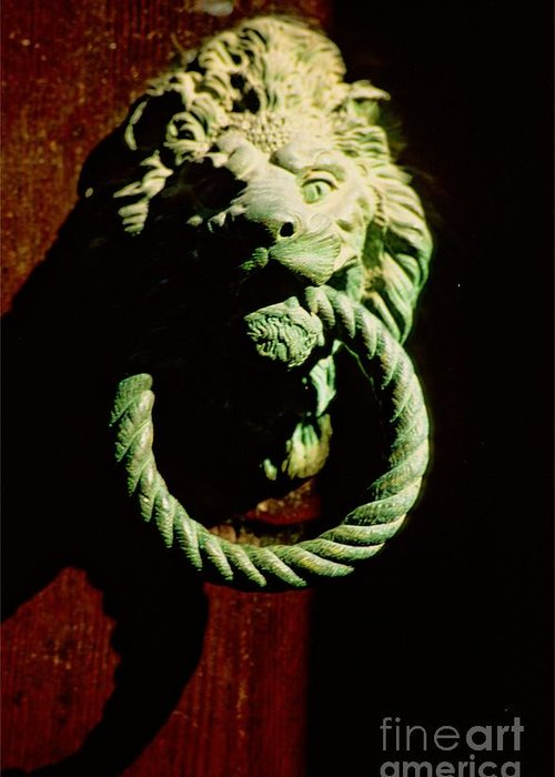Venice Greeting Card featuring the photograph Lion Door Knocker In Venice by Michael Henderson