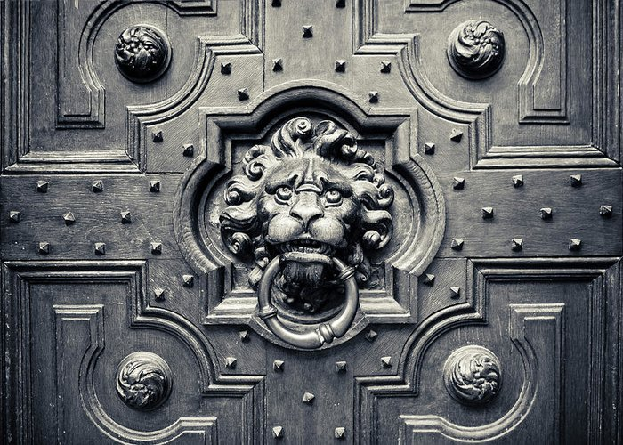 3scape Photos Greeting Card featuring the photograph Lion Head Door Knocker by Adam Romanowicz