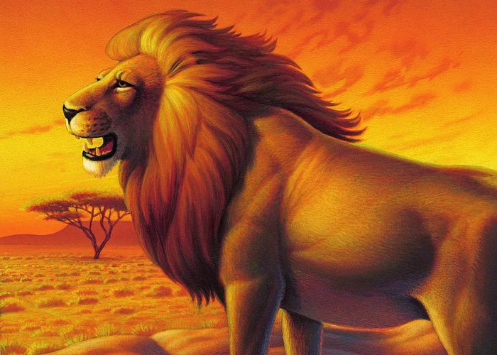 Lion King Greeting Card featuring the painting Lion King by Leland Klanderman
