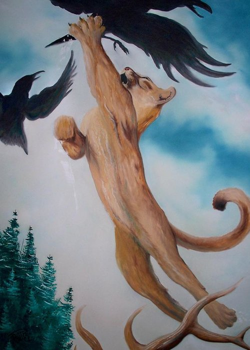 Lion Greeting Card featuring the painting Lion King by Patrick Trotter