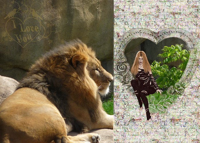 Lion Greeting Card featuring the photograph Lion Love by RiaL Treasures