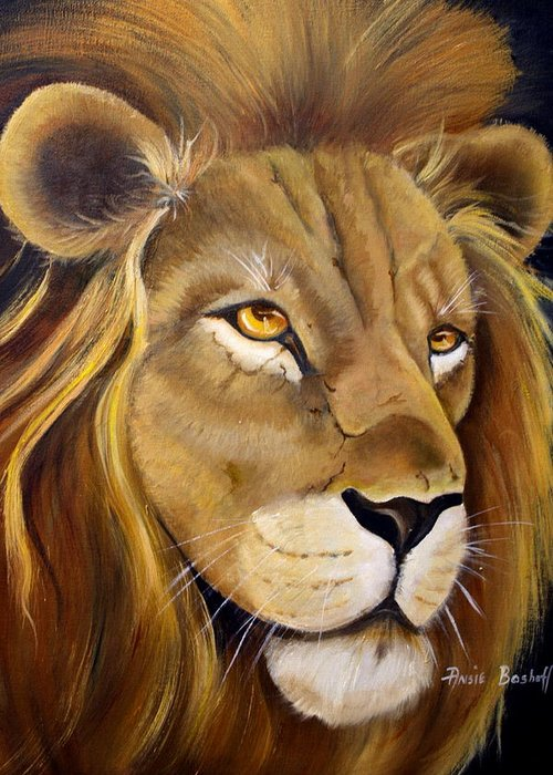 Animals Greeting Card featuring the painting Lion Male by Ansie Boshoff