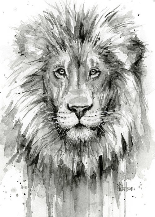 Lion Greeting Card featuring the painting Lion Watercolor by Olga Shvartsur
