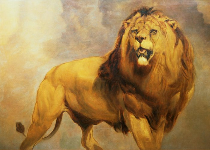 Lion Greeting Card featuring the painting Lion by William Huggins