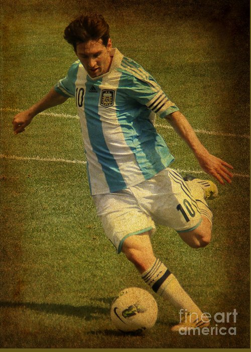 Lee Dos Santos Greeting Card featuring the photograph Lionel Andres Messi Argentine Footballer Fc Barcelona by Lee Dos Santos