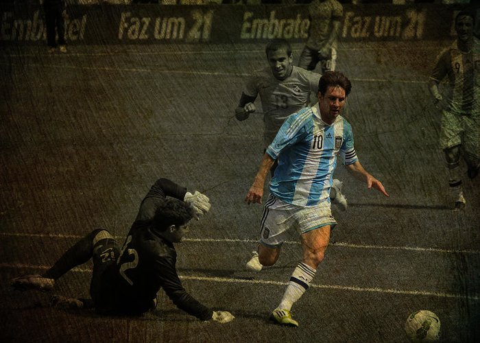 Action Greeting Card featuring the photograph Lionel Messi Breaking Raphael Cabrals Ankles by Lee Dos Santos