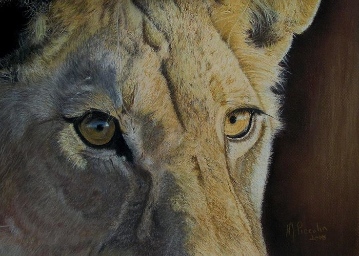 Lioness Greeting Card featuring the drawing Lioness Eyes by Marlene Piccolin