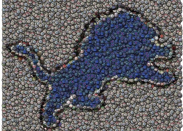 Detroit Lions Greeting Card featuring the digital art Lions Bottle Cap Mosaic by Paul Van Scott