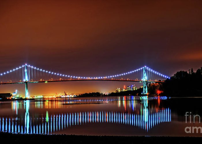 Vancouver Landscape Greeting Card featuring the photograph Lions Gate Bridge At Night 2 by Viktor Birkus