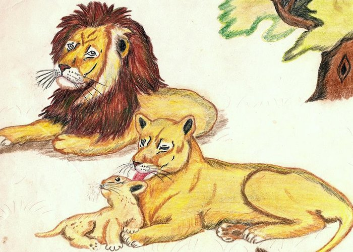 Lions Greeting Card featuring the drawing Lions Of The Tree by George I Perez