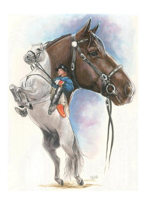Spanish Riding School Greeting Card featuring the mixed media Lippizaner by Barbara Keith