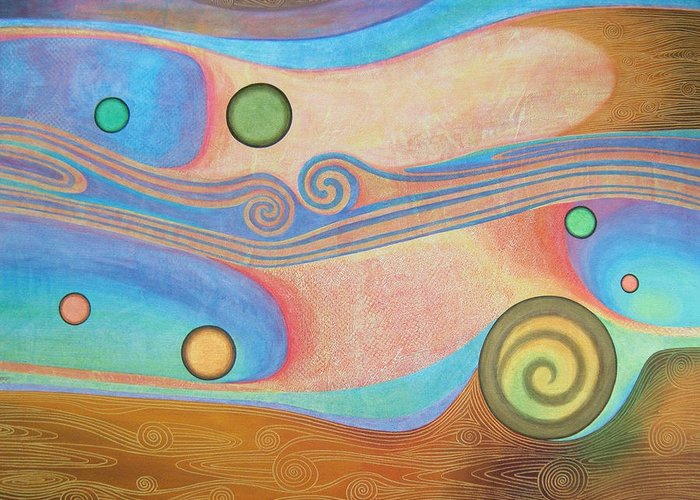 Abstract Greeting Card featuring the painting Liquid Crystals by Jennifer Baird