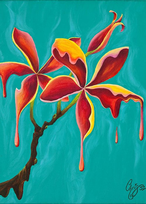 Plumeria Greeting Card featuring the painting Liquidia Plumeria by Chris Fifty-one