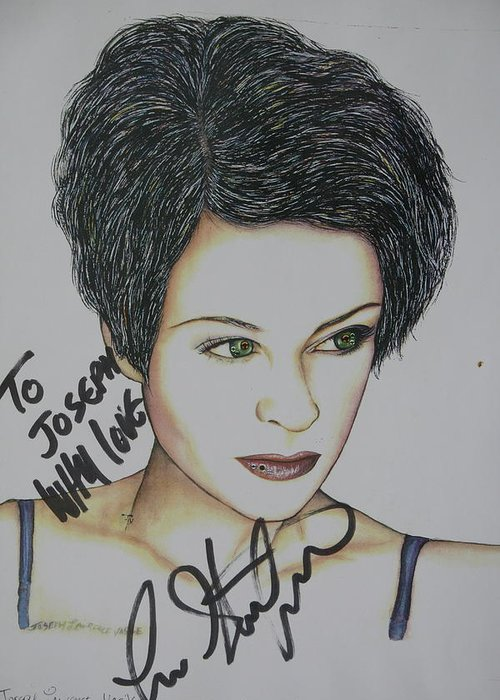 Lisa Stansfield Greeting Card featuring the mixed media Lisa by Joseph Lawrence Vasile