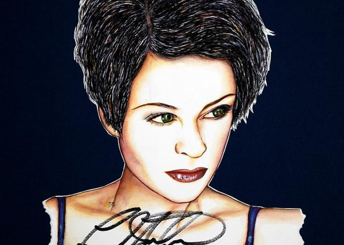 Autographed Greeting Card featuring the mixed media Lisa Standsfield by Joseph Lawrence Vasile