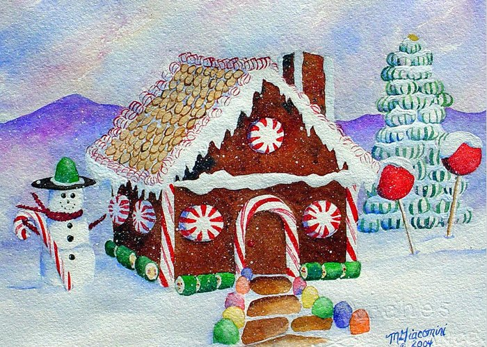 Christmas Greeting Card featuring the painting Lisa's Gingerbread House by Mary Giacomini