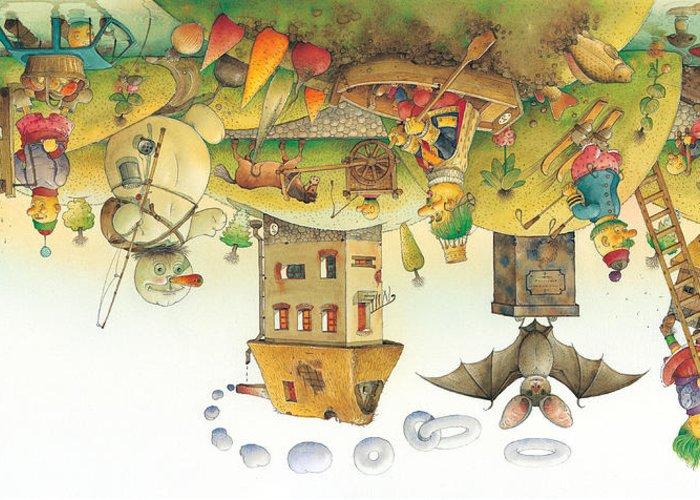 Dream Sleep Greeting Card featuring the painting Lisas Journey12 by Kestutis Kasparavicius