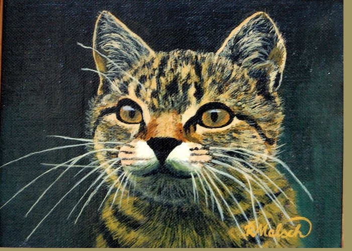 Cat Greeting Card featuring the painting Lissel by Rita Lulay Malsch