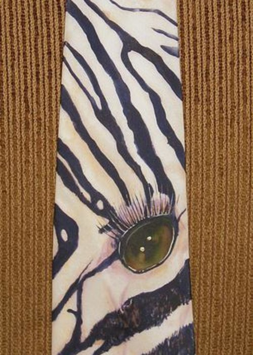 Zebra Greeting Card featuring the painting Listen Up by David Kelly