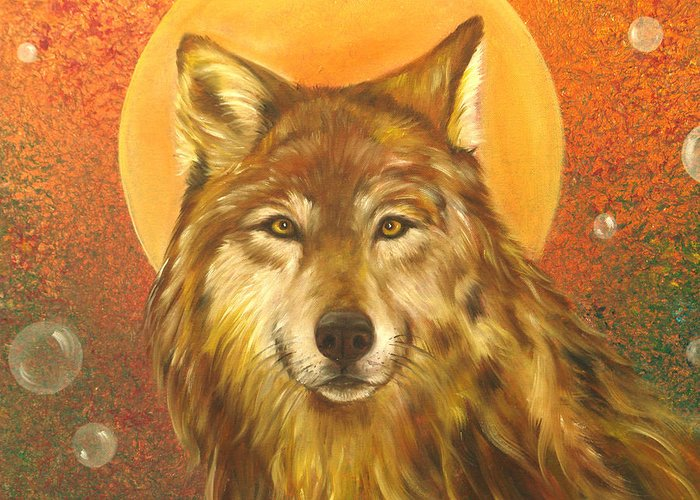 Wolf Greeting Card featuring the painting Listening by Sundara Fawn