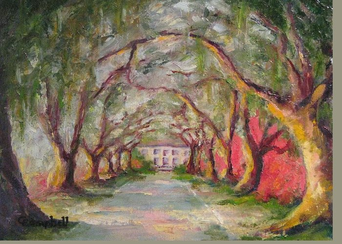 South Carolina Greeting Card featuring the painting Litchfield Carriage House by Cecelia Campbell